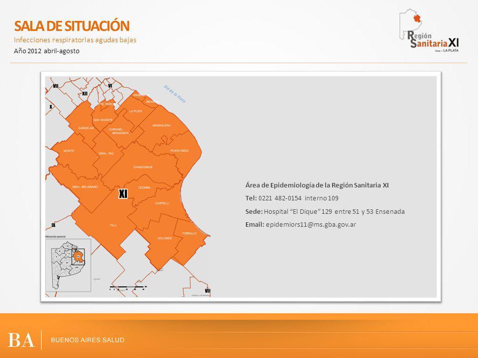 Área de Epidemiología de la Región Sanitaria XI Tel: 0221 482-0154 interno 109 Sede: Hospital El Dique 129 entre 51 y 53 Ensenada Email: epidemiors11@