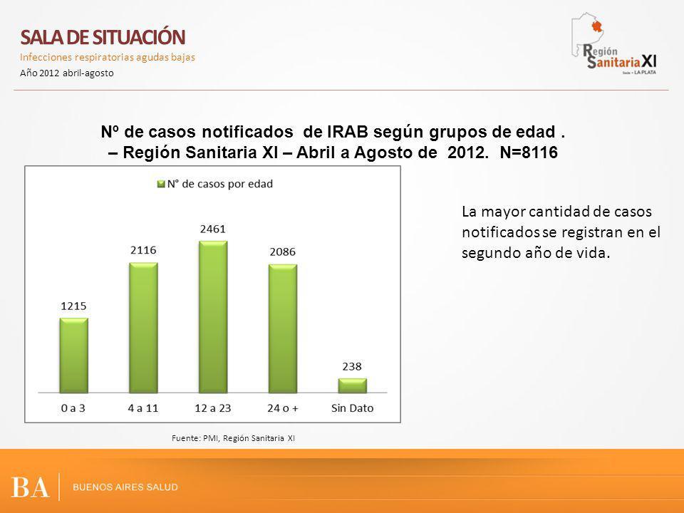 SALA DE SITUACIÓN Infecciones respiratorias agudas bajas Año 2012 abril-agosto I Fuente: PMI, Región Sanitaria XI Durante el año 2012 disminuye el número de fumadores en los hogares de casos notificados.