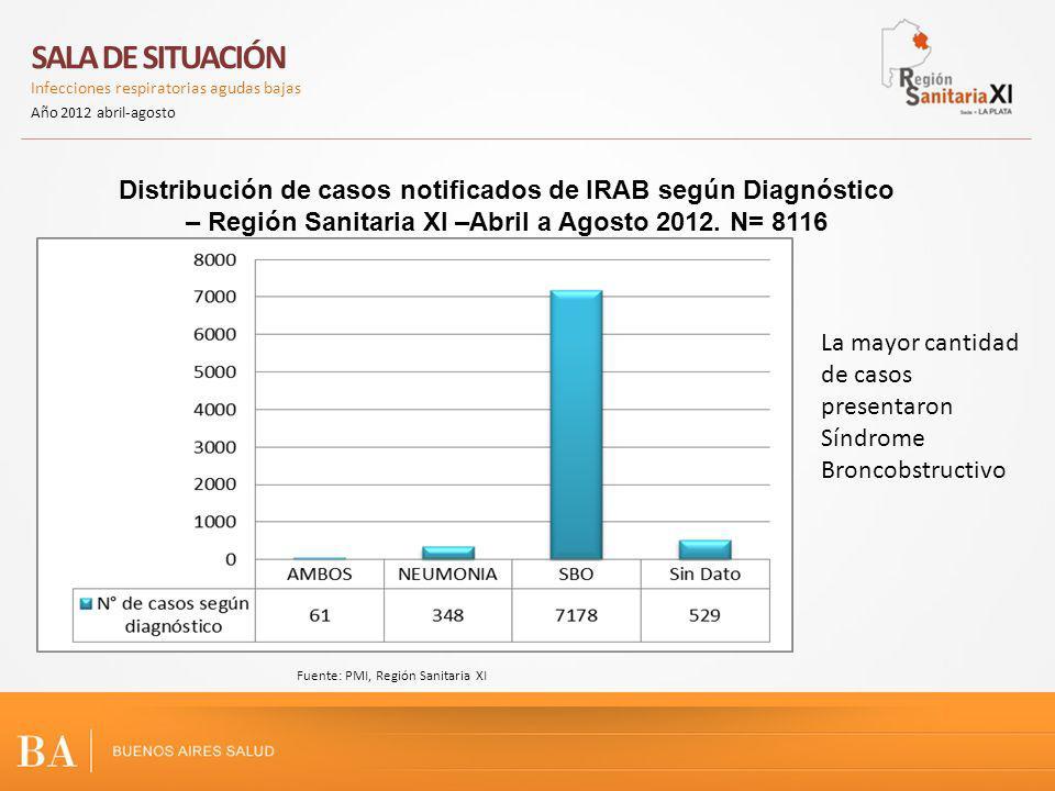 Distribución de casos notificados de IRAB según Diagnóstico – Región Sanitaria XI –Abril a Agosto 2012. N= 8116 SALA DE SITUACIÓN Infecciones respirat