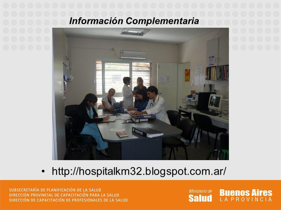 http://hospitalkm32.blogspot.com.ar/ Información Complementaria Incluir todo aquello que permita al aspirante formar su idea de la residencia, pudiend