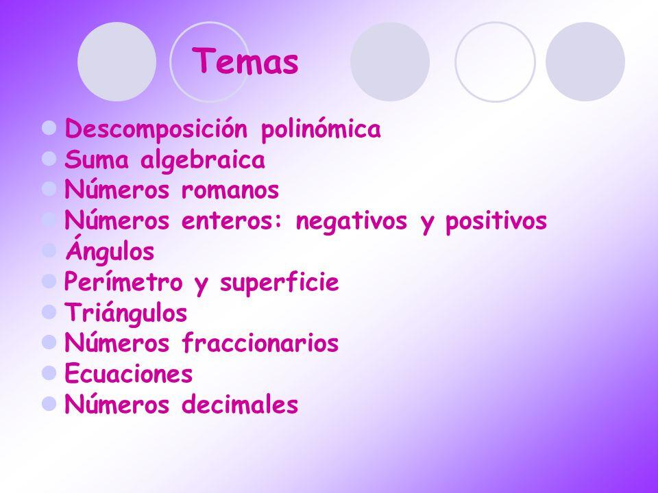 Temas Descomposición polinómica Suma algebraica Números romanos Números enteros: negativos y positivos Ángulos Perímetro y superficie Triángulos Númer
