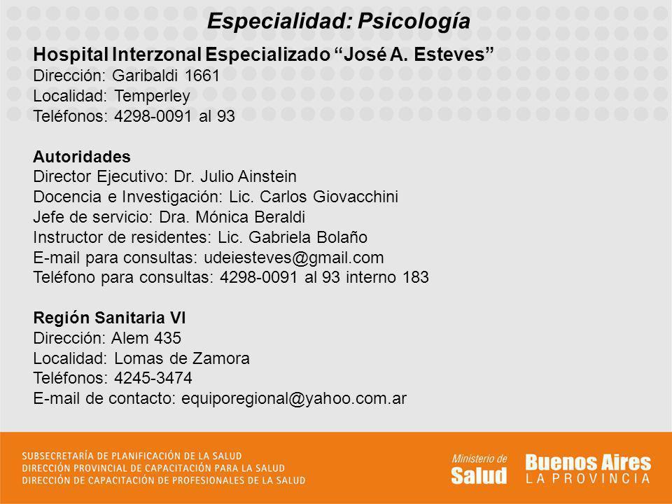 Especialidad: Psicología Hospital Interzonal Especializado José A. Esteves Dirección: Garibaldi 1661 Localidad: Temperley Teléfonos: 4298-0091 al 93 A