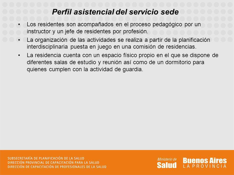 Perfil asistencial del servicio sede Los residentes son acompañados en el proceso pedagógico por un instructor y un jefe de residentes por profesión.