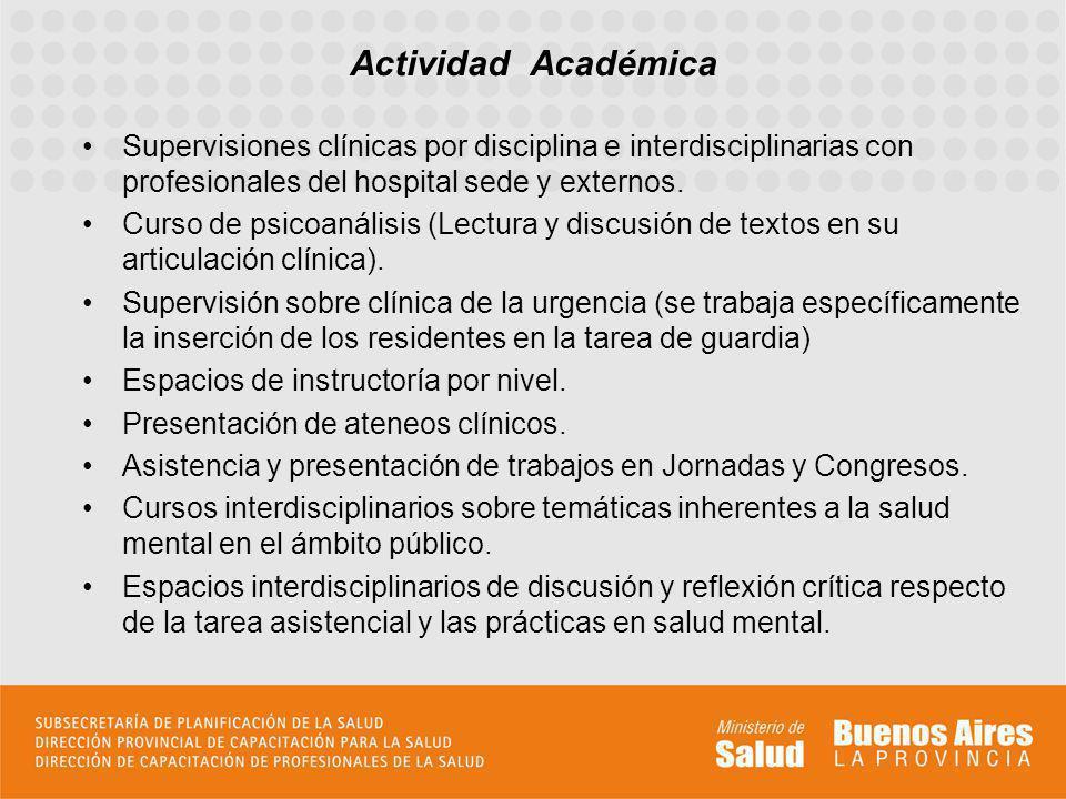 Supervisiones clínicas por disciplina e interdisciplinarias con profesionales del hospital sede y externos. Curso de psicoanálisis (Lectura y discusió