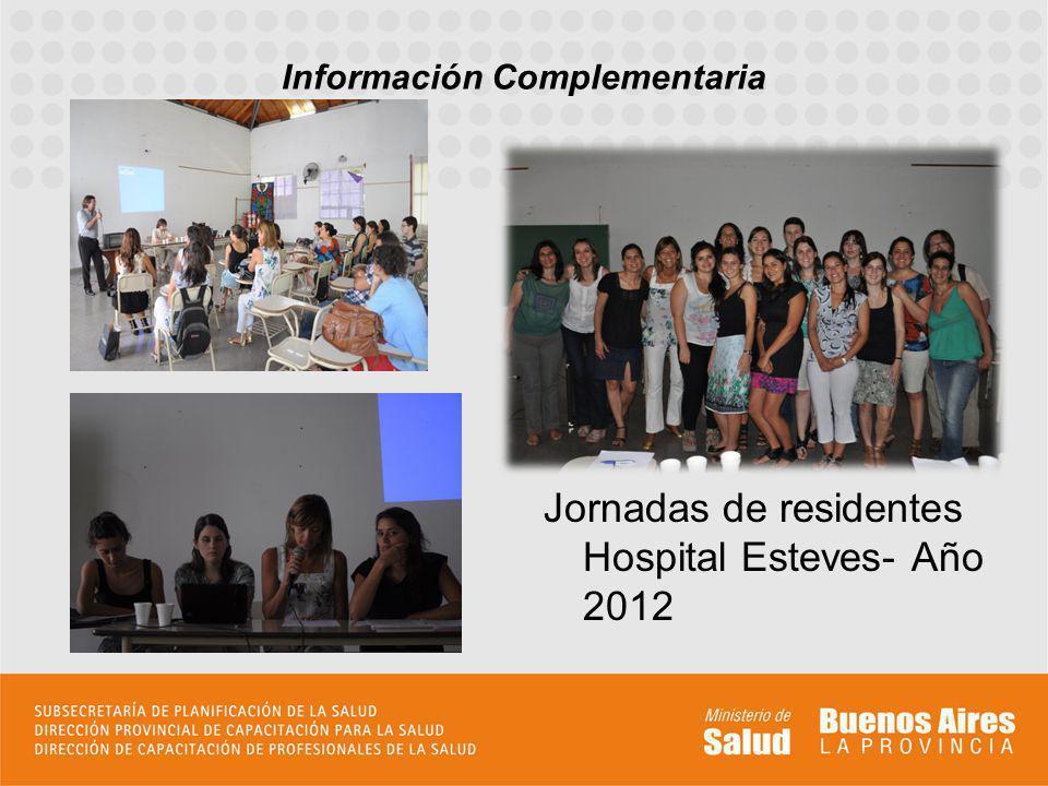Información Complementaria Jornadas de residentes Hospital Esteves- Año 2012