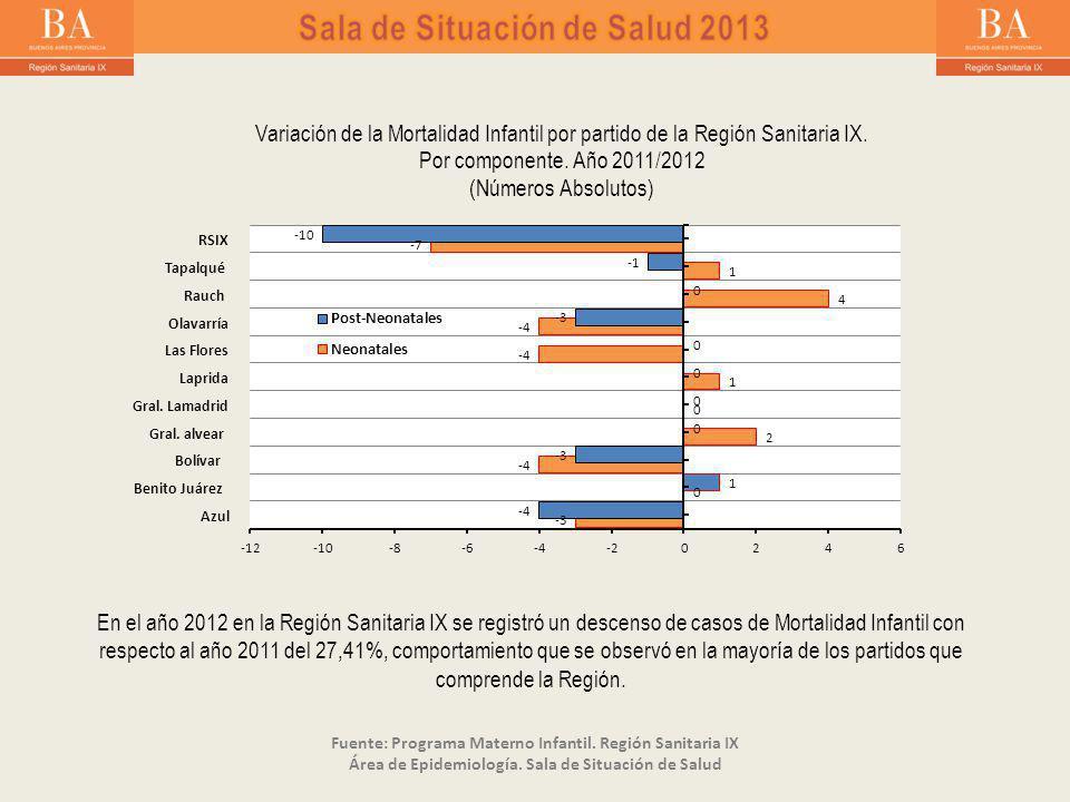 En el año 2012 en la Región Sanitaria IX se registró un descenso de casos de Mortalidad Infantil con respecto al año 2011 del 27,41%, comportamiento que se observó en la mayoría de los partidos que comprende la Región.