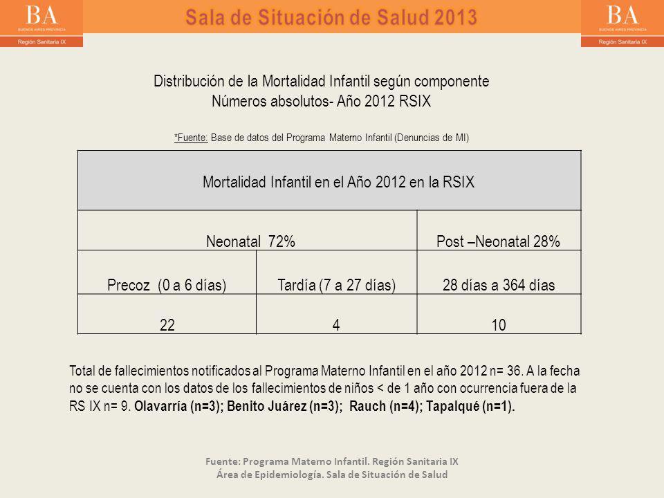Mortalidad Infantil en el Año 2012 en la RSIX Neonatal 72%Post –Neonatal 28% Precoz (0 a 6 días)Tardía (7 a 27 días)28 días a 364 días 22410 Distribución de la Mortalidad Infantil según componente Números absolutos- Año 2012 RSIX *Fuente: Base de datos del Programa Materno Infantil (Denuncias de MI) Total de fallecimientos notificados al Programa Materno Infantil en el año 2012 n= 36.