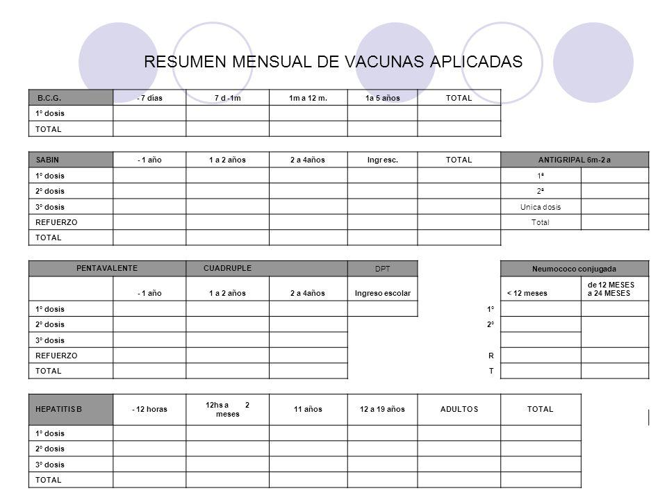 RESUMEN MENSUAL DE VACUNAS APLICADAS B.C.G.- 7 días7 d -1m1m a 12 m.1a 5 añosTOTAL 1° dosis TOTAL SABIN- 1 año1 a 2 años2 a 4añosIngr esc.TOTALANTIGRI