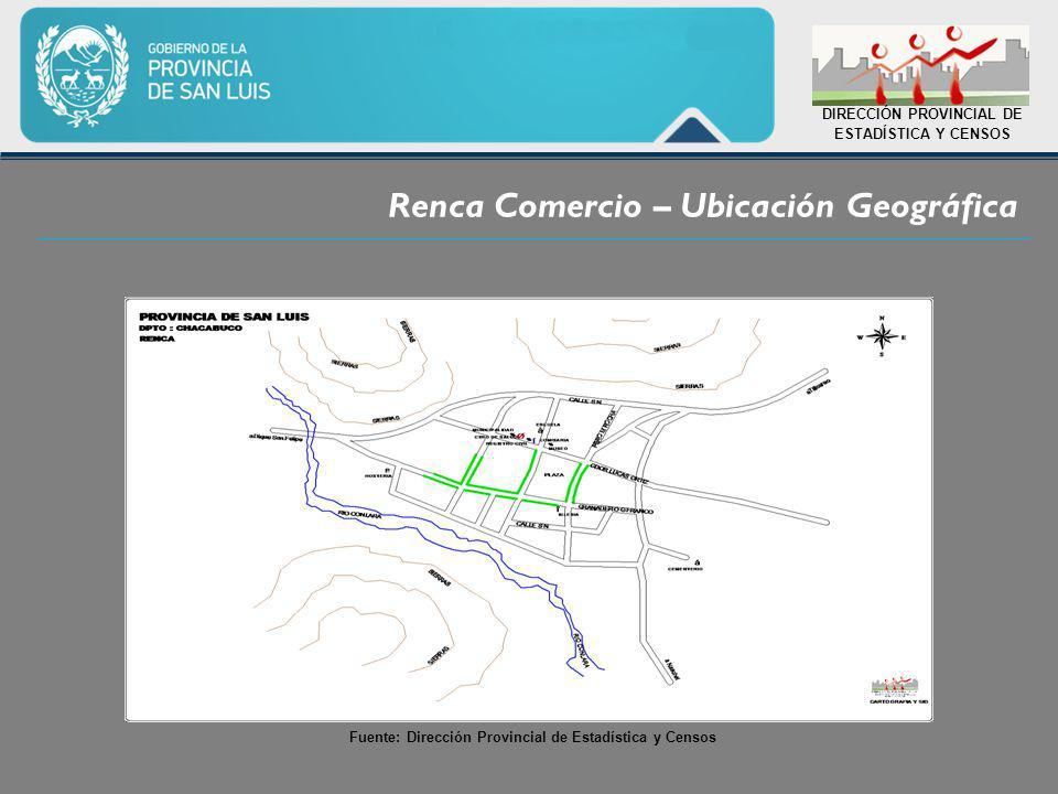 Renca Comercio – Ubicación Geográfica DIRECCIÓN PROVINCIAL DE ESTADÍSTICA Y CENSOS Fuente: Dirección Provincial de Estadística y Censos