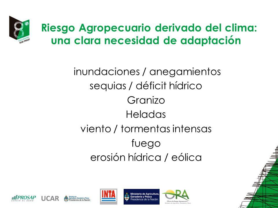 Riesgo Agropecuario derivado del clima: una clara necesidad de adaptación inundaciones / anegamientos sequias / déficit hídrico Granizo Heladas viento / tormentas intensas fuego erosión hídrica / eólica