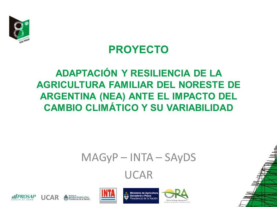 PROYECTO ADAPTACIÓN Y RESILIENCIA DE LA AGRICULTURA FAMILIAR DEL NORESTE DE ARGENTINA (NEA) ANTE EL IMPACTO DEL CAMBIO CLIMÁTICO Y SU VARIABILIDAD MAGyP – INTA – SAyDS UCAR