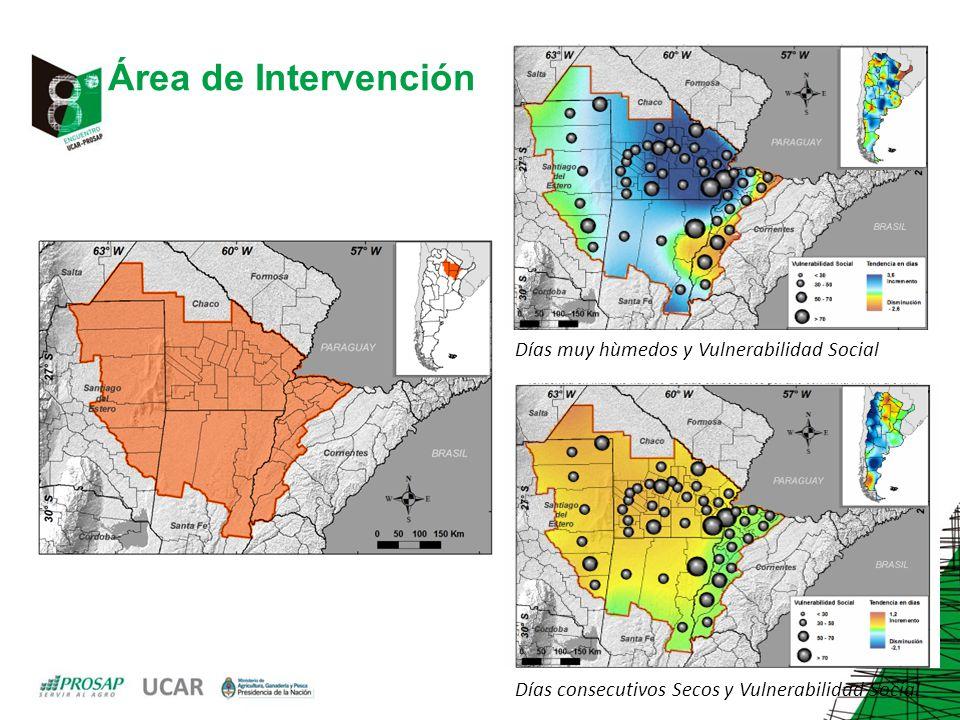 Área de Intervención Días muy hùmedos y Vulnerabilidad Social Días consecutivos Secos y Vulnerabilidad Social