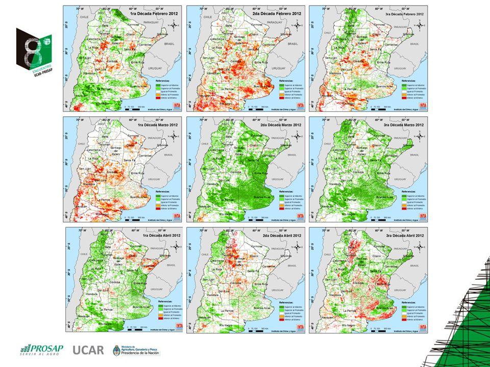 Diciembre 2008 Diciembre 2009 Evolución de diferentes áreas productivas en función de Índices de Vegetación