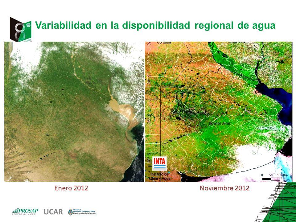Variabilidad en la disponibilidad regional de agua Enero 2012 Noviembre 2012