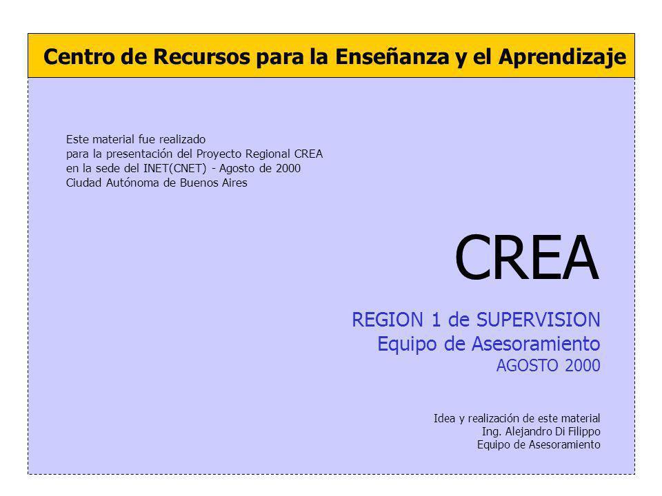 REGION 1 de SUPERVISION Equipo de Asesoramiento AGOSTO 2000 Centro de Recursos para la Enseñanza y el Aprendizaje Idea y realización de este material