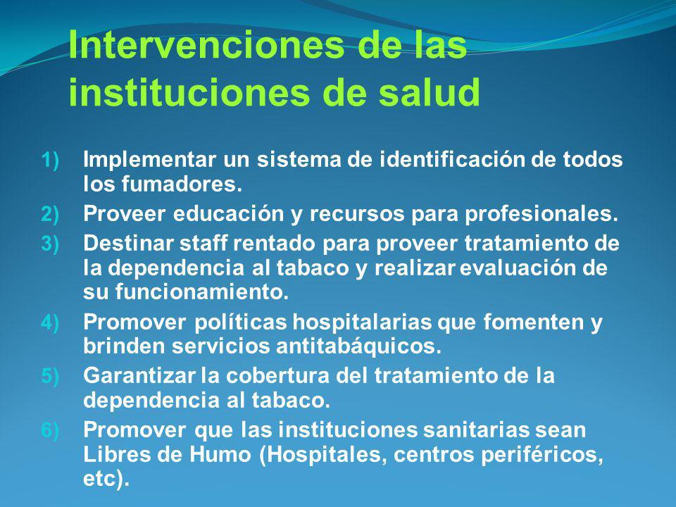 Intervenciones de las instituciones de salud 1) Implementar un sistema de identificación de todos los fumadores. 2) Proveer educación y recursos para