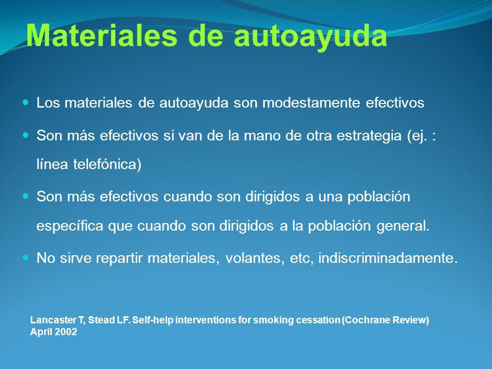 Materiales de autoayuda Los materiales de autoayuda son modestamente efectivos Son más efectivos si van de la mano de otra estrategia (ej. : línea tel
