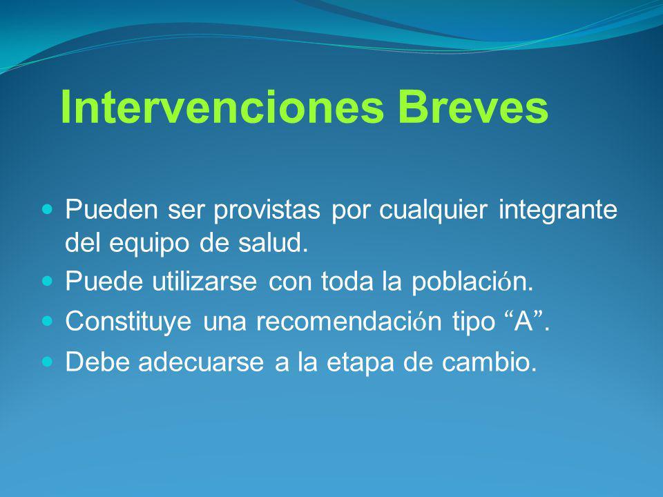 Intervenciones Breves Pueden ser provistas por cualquier integrante del equipo de salud. Puede utilizarse con toda la poblaci ó n. Constituye una reco