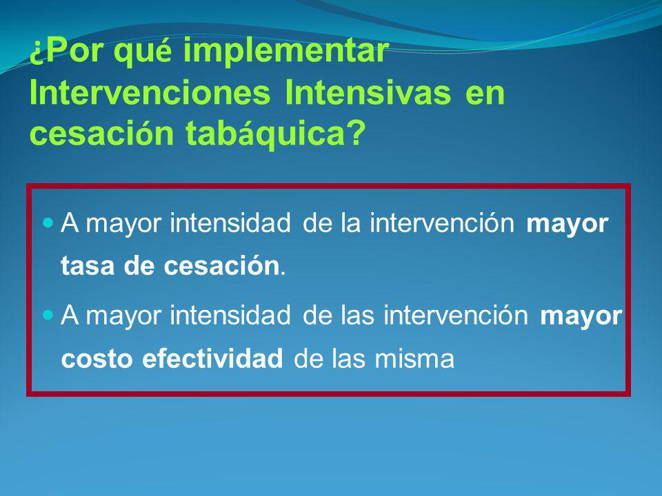 ¿ Por qu é implementar Intervenciones Intensivas en cesaci ó n tab á quica? A mayor intensidad de la intervención mayor tasa de cesación. A mayor inte