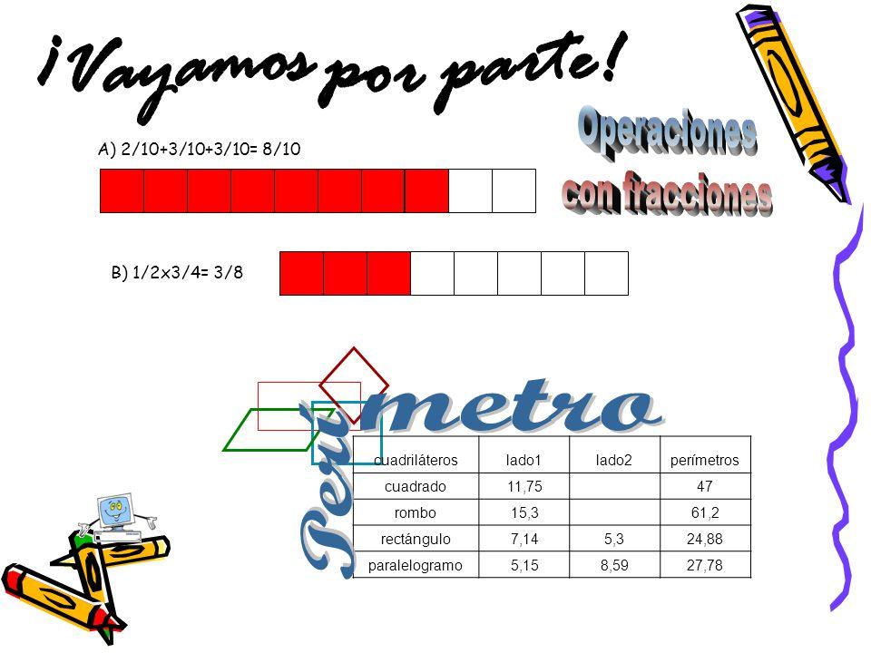 A) 2/10+3/10+3/10= 8/10 B) 1/2x3/4= 3/8 cuadriláteroslado1lado2perímetros cuadrado11,75 47 rombo15,3 61,2 rectángulo7,145,324,88 paralelogramo5,158,59