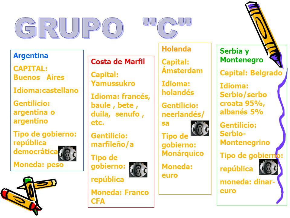Argentina CAPITAL: Buenos Aires Idioma:castellano Gentilicio: argentina o argentino Tipo de gobierno: república democrática Moneda: peso Costa de Marf