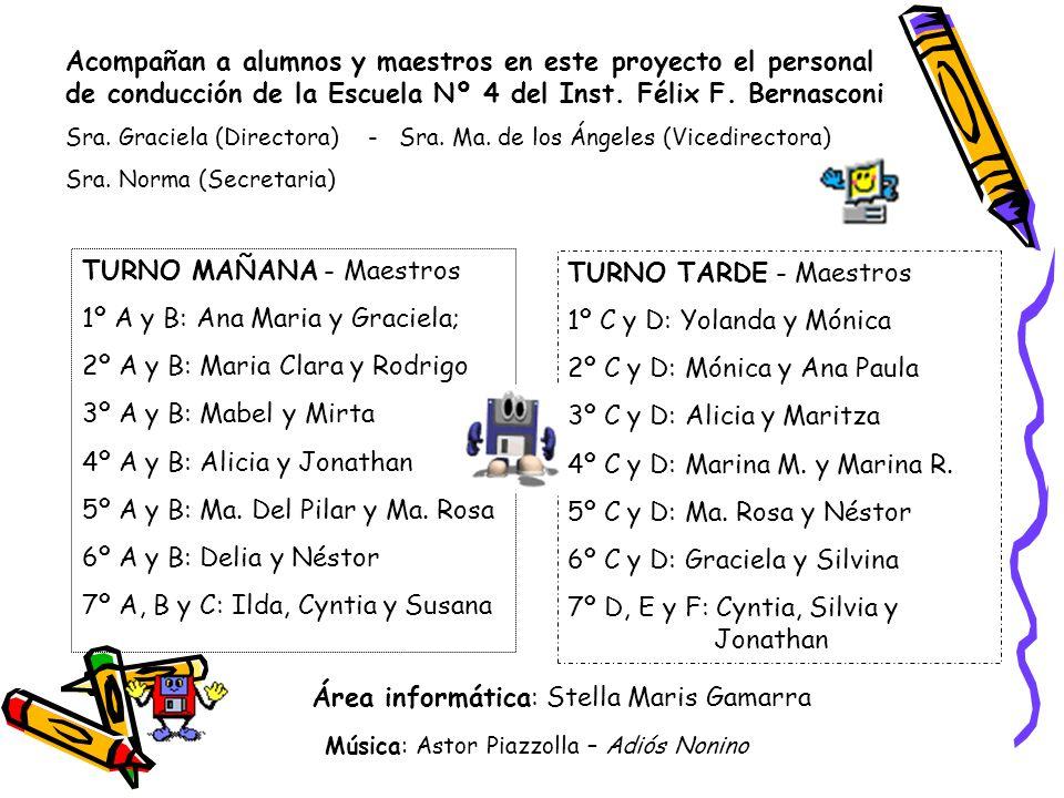 Acompañan a alumnos y maestros en este proyecto el personal de conducción de la Escuela Nº 4 del Inst. Félix F. Bernasconi Sra. Graciela (Directora) -