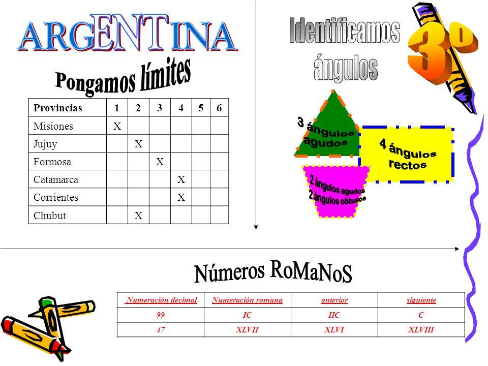 Numeración decimalNumeración romanaanteriorsiguiente 99ICIICC 47XLVIIXLVIXLVIII Provincias123456 MisionesX JujuyX FormosaX CatamarcaX CorrientesX Chub