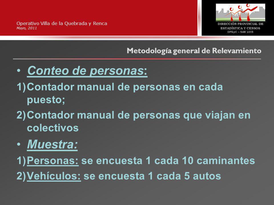 Operativo Villa de la Quebrada y Renca Mayo, 2011 Conteo de personas: 1)Contador manual de personas en cada puesto; 2)Contador manual de personas que