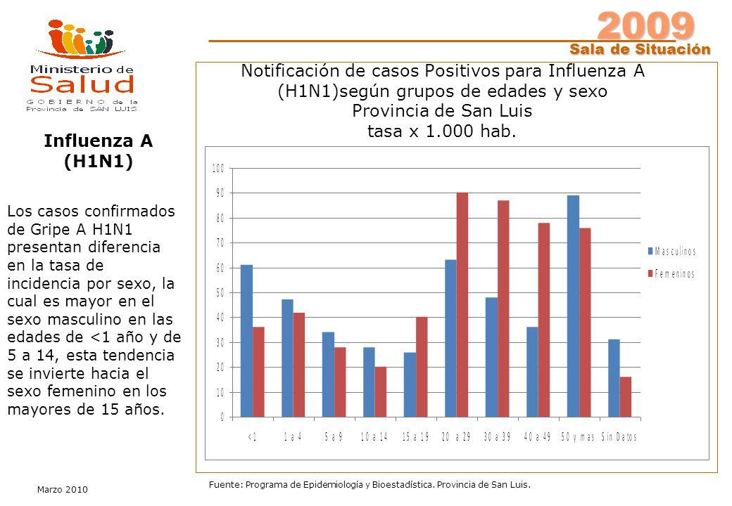 2009 Sala de Situación Marzo 2010 Fuente: Programa de Epidemiología y Bioestadística. Provincia de San Luis. Notificación de casos Positivos para Infl