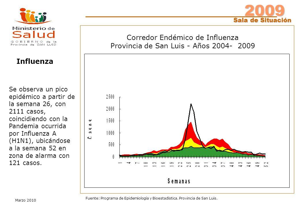 2009 Sala de Situación Marzo 2010 Fuente: Programa de Epidemiología y Bioestadística. Provincia de San Luis. Influenza Se observa un pico epidémico a