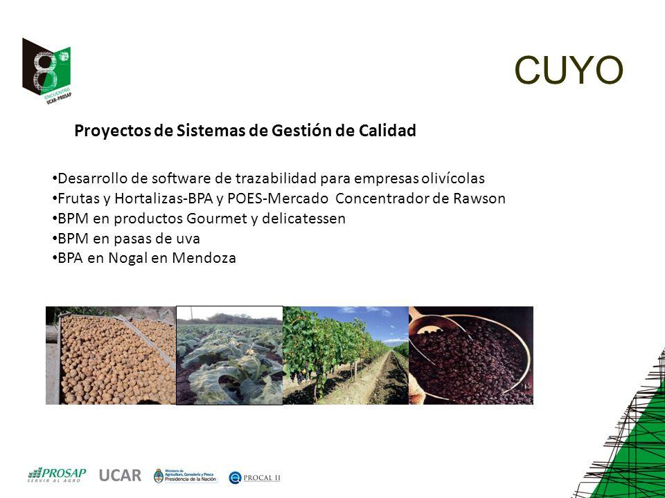 CUYO Proyectos de Sistemas de Gestión de Calidad Desarrollo de software de trazabilidad para empresas olivícolas Frutas y Hortalizas-BPA y POES-Mercad