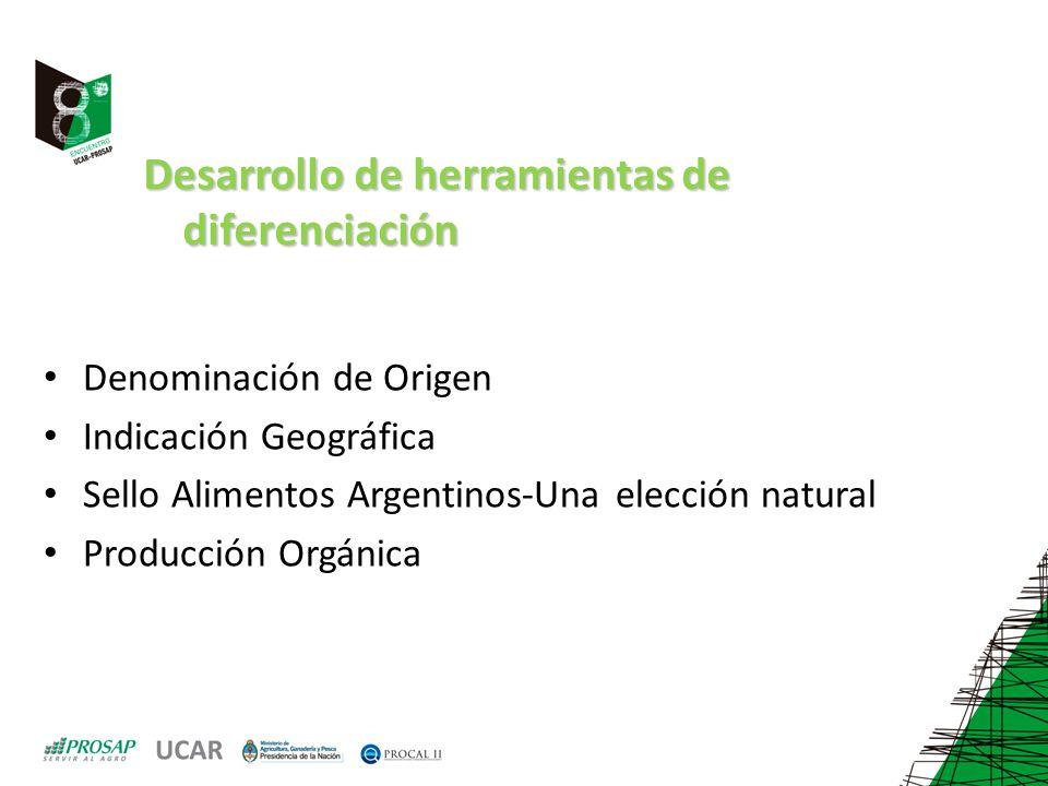 Desarrollo de herramientas de diferenciación Denominación de Origen Indicación Geográfica Sello Alimentos Argentinos-Una elección natural Producción O