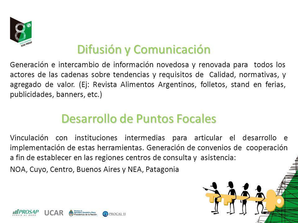 Difusión y Comunicación Generación e intercambio de información novedosa y renovada para todos los actores de las cadenas sobre tendencias y requisito