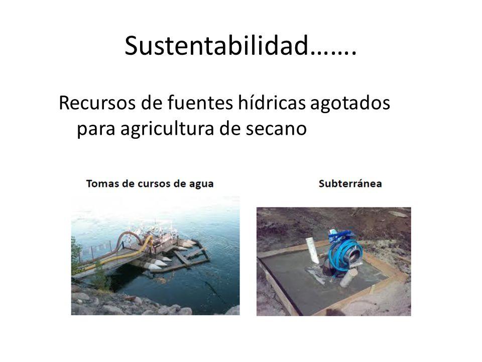 Sustentabilidad……. Recursos de fuentes hídricas agotados para agricultura de secano