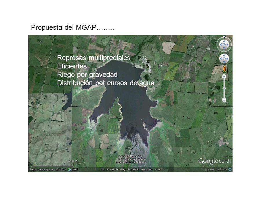 Propuesta del MGAP…….. Represas multiprediales Eficientes Riego por gravedad Distribución por cursos de agua