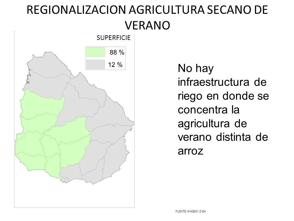 REGIONALIZACION AGRICULTURA SECANO DE VERANO SUPERFICIE FUENTE IMAGEN: DIEA No hay infraestructura de riego en donde se concentra la agricultura de ve