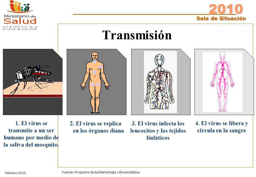 2010 Sala de Situación Febrero 2010 Fuente: Programa de Epidemiología y Bioestadística Transmisión 1. El virus se transmite a un ser humano por medio