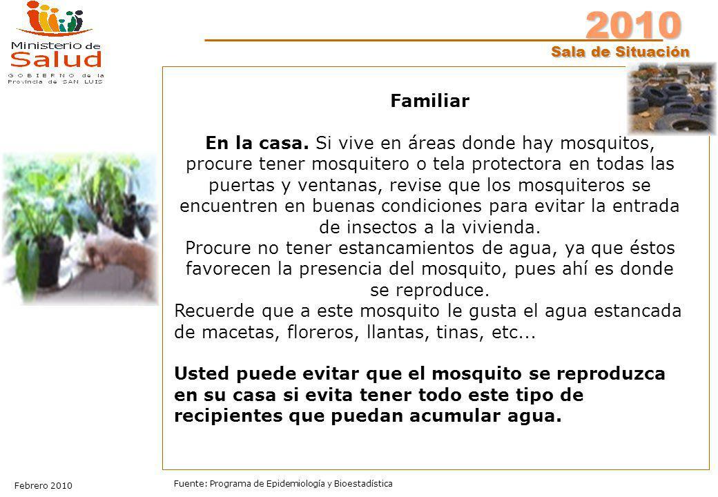 2010 Sala de Situación Febrero 2010 Fuente: Programa de Epidemiología y Bioestadística Familiar En la casa. Si vive en áreas donde hay mosquitos, proc