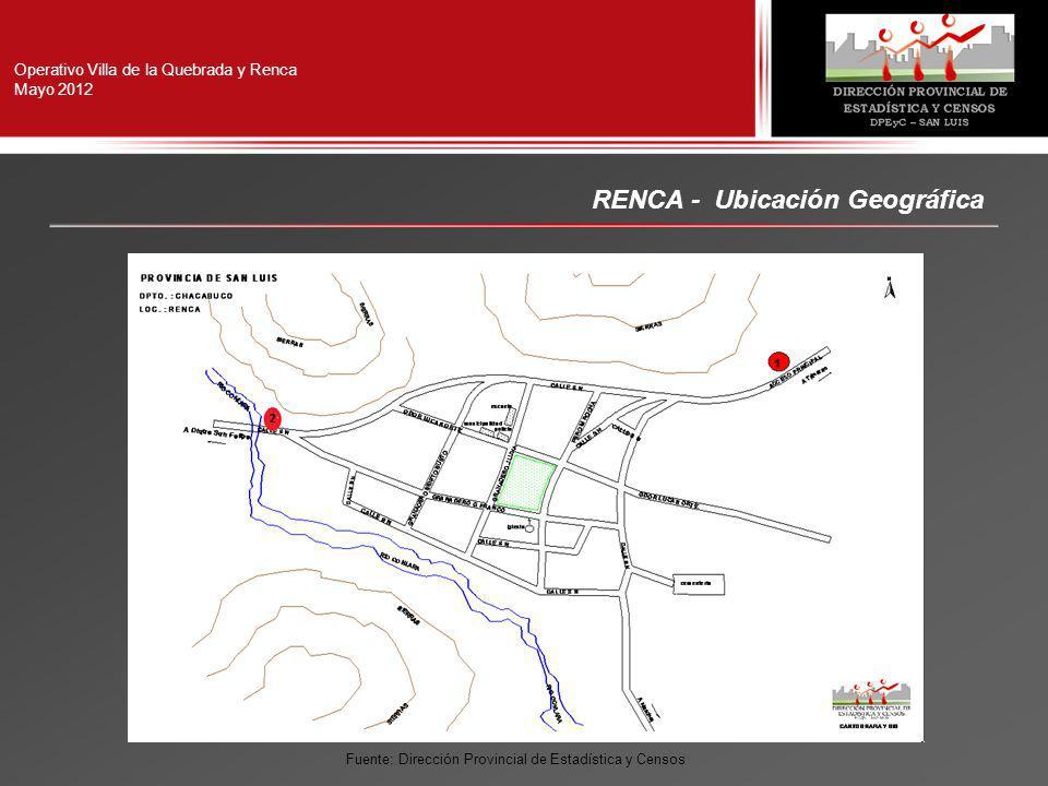 RENCA - Ubicación Geográfica Operativo Villa de la Quebrada y Renca Mayo 2012 Fuente: Dirección Provincial de Estadística y Censos