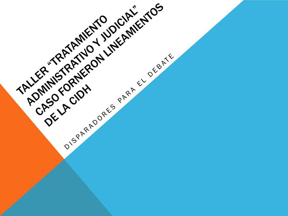 TALLER TRATAMIENTO ADMINISTRATIVO Y JUDICIAL CASO FORNERON LINEAMIENTOS DE LA CIDH DISPARADORES PARA EL DEBATE