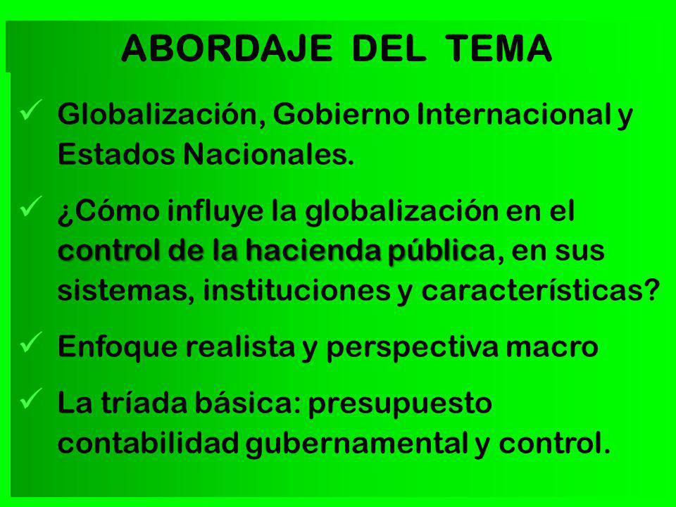 Globalización, Gobierno Internacional y Estados Nacionales. control de la hacienda públic ¿Cómo influye la globalización en el control de la hacienda