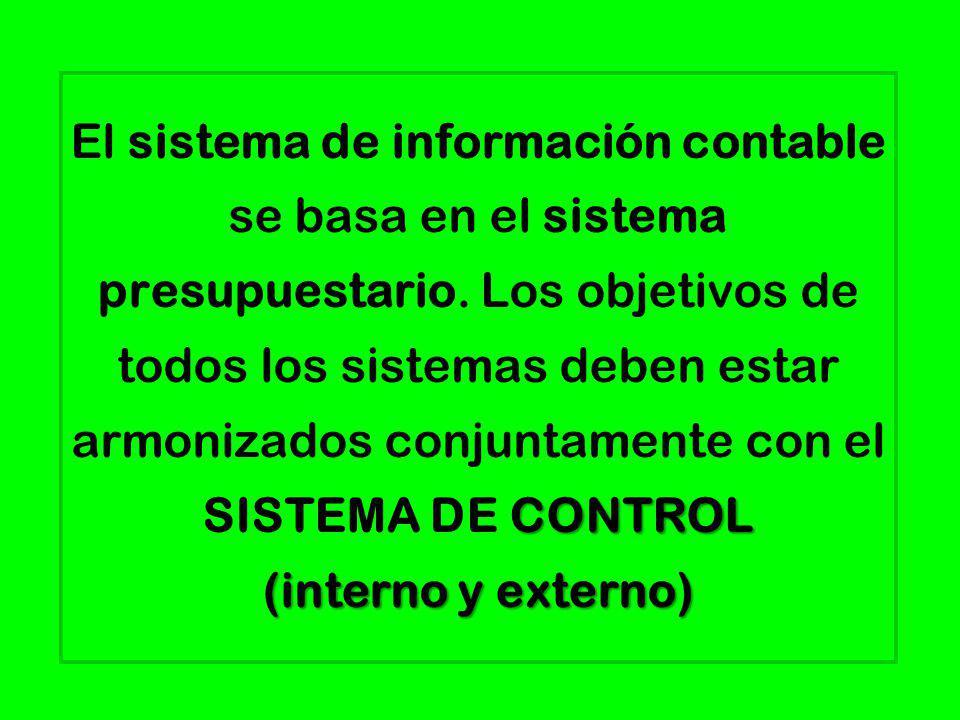 CONTROL (interno y externo) El sistema de información contable se basa en el sistema presupuestario. Los objetivos de todos los sistemas deben estar a
