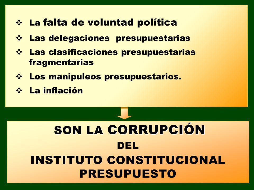 La falta de voluntad política Las delegaciones presupuestarias Las clasificaciones presupuestarias fragmentarias Los manipuleos presupuestarios. La in
