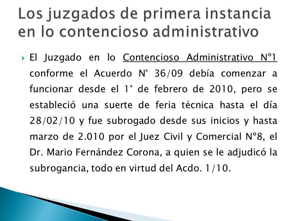 El Juzgado en lo Contencioso Administrativo Nº1 conforme el Acuerdo N° 36/09 debía comenzar a funcionar desde el 1° de febrero de 2010, pero se establ