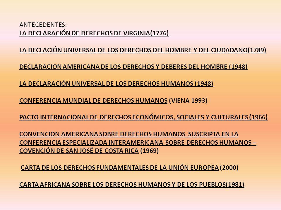 ANTECEDENTES: LA DECLARACIÓN DE DERECHOS DE VIRGINIA(1776) LA DECLACIÓN UNIVERSAL DE LOS DERECHOS DEL HOMBRE Y DEL CIUDADANO(1789) DECLARACION AMERICANA DE LOS DERECHOS Y DEBERES DEL HOMBRE (1948) LA DECLARACIÓN UNIVERSAL DE LOS DERECHOS HUMANOS (1948) CONFERENCIA MUNDIAL DE DERECHOS HUMANOS (VIENA 1993) PACTO INTERNACIONAL DE DERECHOS ECONÓMICOS, SOCIALES Y CULTURALES (1966) CONVENCION AMERICANA SOBRE DERECHOS HUMANOS SUSCRIPTA EN LA CONFERENCIA ESPECIALIZADA INTERAMERICANA SOBRE DERECHOS HUMANOS – COVENCIÓN DE SAN JOSÉ DE COSTA RICA (1969) CARTA DE LOS DERECHOS FUNDAMENTALES DE LA UNIÓN EUROPEA (2000) CARTA AFRICANA SOBRE LOS DERECHOS HUMANOS Y DE LOS PUEBLOS(1981)