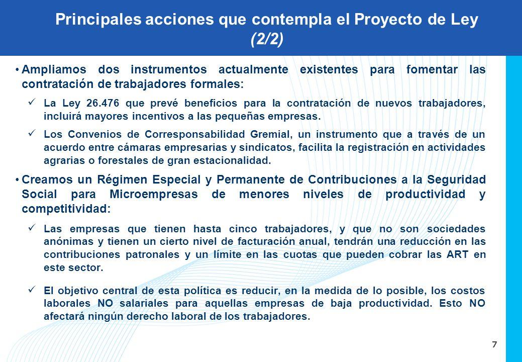 7 Ampliamos dos instrumentos actualmente existentes para fomentar las contratación de trabajadores formales: La Ley 26.476 que prevé beneficios para l