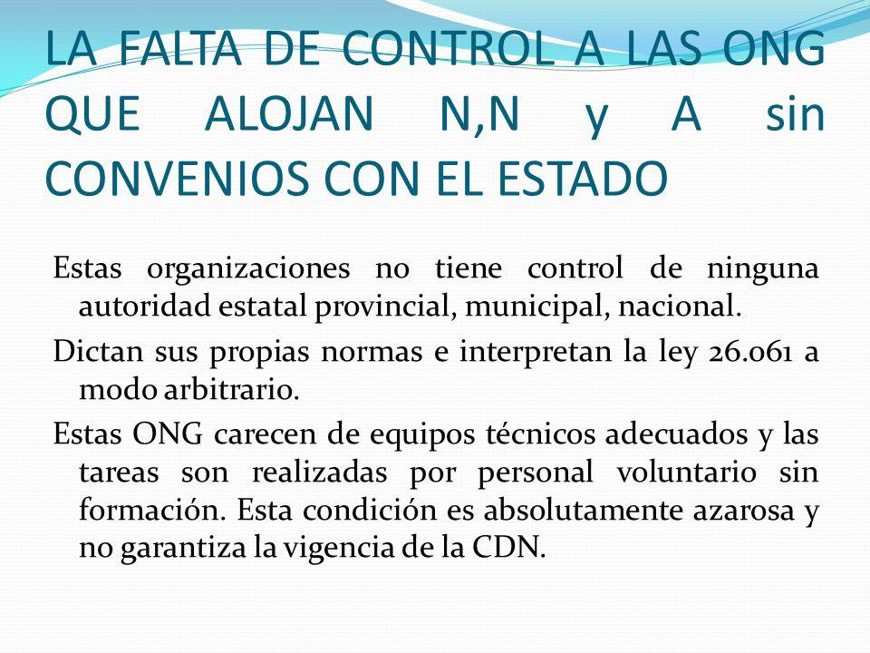LA FALTA DE CONTROL A LAS ONG QUE ALOJAN N,N y A sin CONVENIOS CON EL ESTADO Estas organizaciones no tiene control de ninguna autoridad estatal provin
