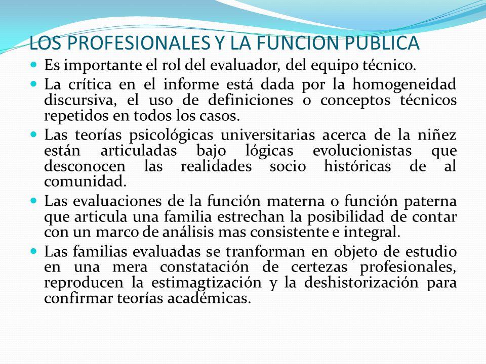 LOS PROFESIONALES Y LA FUNCION PUBLICA Es importante el rol del evaluador, del equipo técnico. La crítica en el informe está dada por la homogeneidad