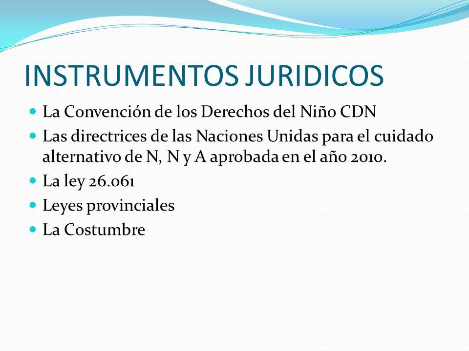 INSTRUMENTOS JURIDICOS La Convención de los Derechos del Niño CDN Las directrices de las Naciones Unidas para el cuidado alternativo de N, N y A aprob
