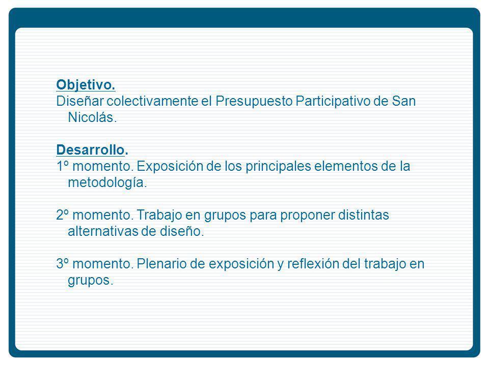 Objetivo.Diseñar colectivamente el Presupuesto Participativo de San Nicolás.